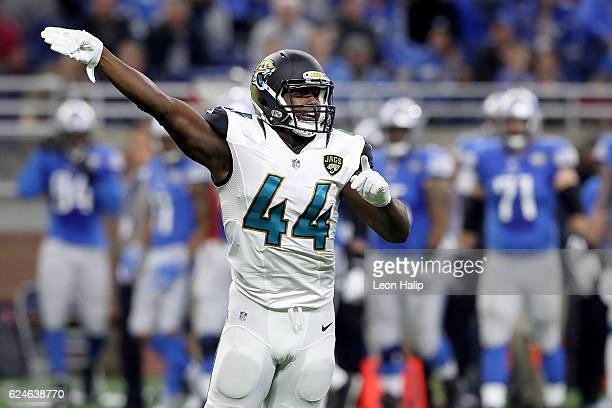 Myles Jack of the Jacksonville Jaguars celebrates a fumble recovery against the Detroit Lions during first quarter action at Ford Field on November...