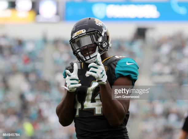 Myles Jack of the Jacksonville Jaguars celebrates a play in the second half of their game against the Indianapolis Colts at EverBank Field on...