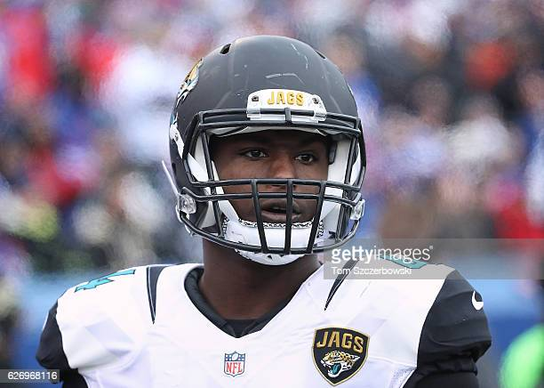 Myles Jack of the Jacksonville Jaguars during NFL game action against the Buffalo Bills at New Era Field on November 27 2016 in Orchard Park New York