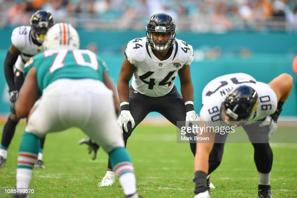Myles Jack of the Jacksonville Jaguars in action against the Miami Dolphins at Hard Rock Stadium on December 23, 2018 in Miami, Florida.