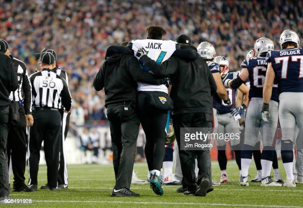 Myles Jack of the Jacksonville Jaguars is injured in the second half during the AFC Championship Gameagainst the New England Patriots at Gillette...
