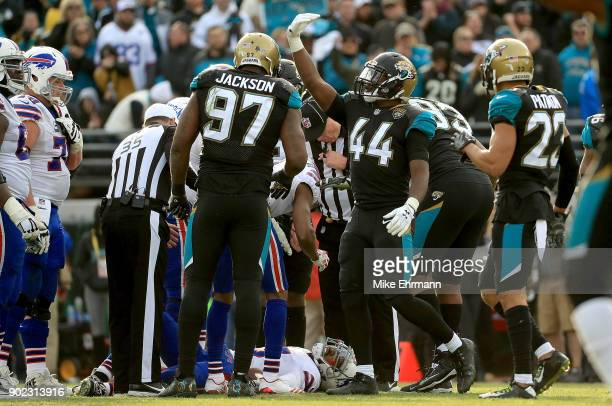 Myles Jack of the Jacksonville Jaguars reacts after Tyrod Taylor of the Buffalo Bills is injured during AFC Wild Card playoff game at EverBank Field...