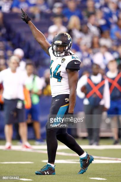 Myles Jack of the Jacksonville Jaguars reacts against the Indianapolis Colts during the first half at Lucas Oil Stadium on October 22 2017 in...