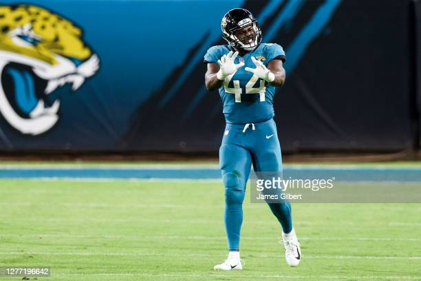 Myles Jack of the Jacksonville Jaguars reacts to a call during the third quarter of a game against the Miami Dolphins at TIAA Bank Field on September...