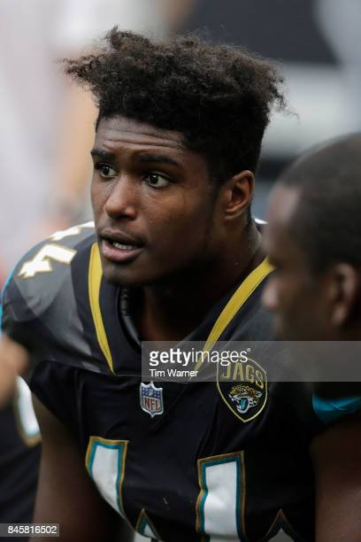 Myles Jack of the Jacksonville Jaguars rests on the sideline during the game against the Houston Texans at NRG Stadium on September 10 2017 in...