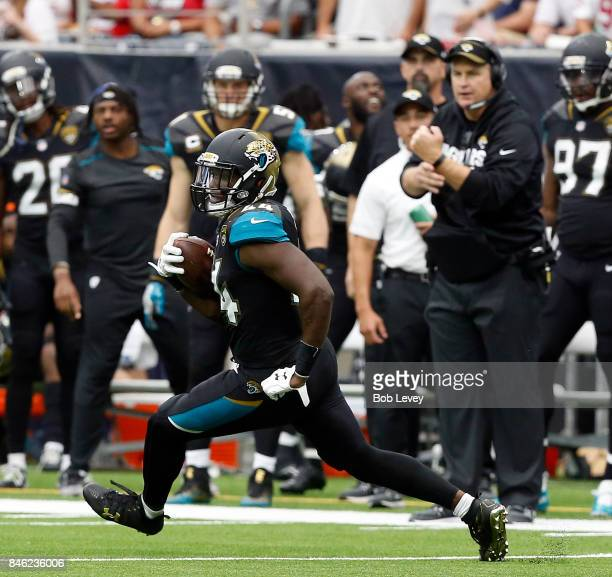 Myles Jack of the Jacksonville Jaguars runs with the ball against the Houston Texans at NRG Stadium on September 10 2017 in Houston Texas