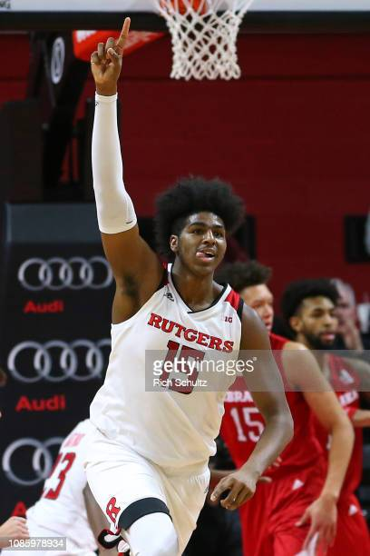 Myles Johnson of the Rutgers Scarlet Knights celebrates after defeating the Nebraska Cornhuskers 7669 during a game at Rutgers Athletic Center on...