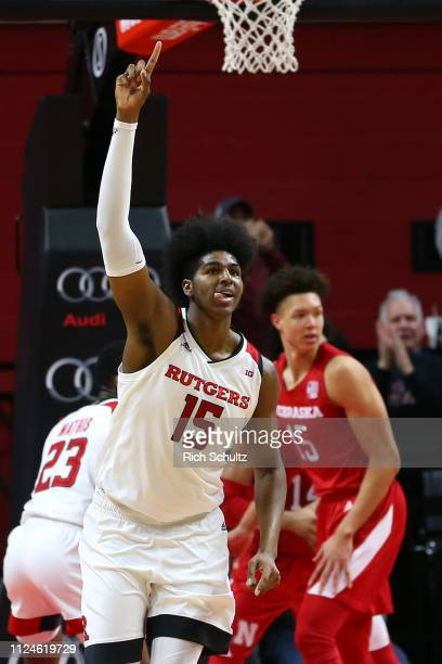 Myles Johnson of the Rutgers Scarlet Knights in action against the Nebraska Cornhuskers during a game at Rutgers Athletic Center on January 21 2019...
