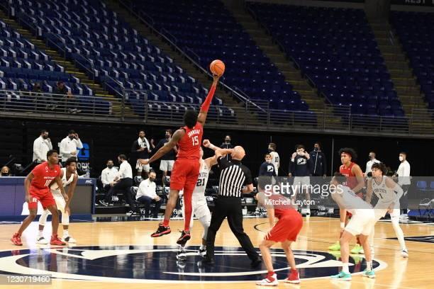 Myles Johnson of the Rutgers Scarlet Knights tips off the ball during a college basketball game against the Penn State Nittany Lions on January 21,...