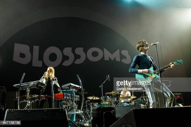 Myles Kellock Joe Donovan and Tom Ogden of Blossoms perform live on stage during a concert as support for Noel Gallagher's High Flying Birds at...