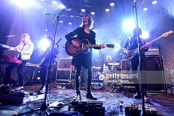 Myles Kellock Josh Dewhurst Tom Ogden Joe Donovan and Charlie Salt of Blossoms peform the late night show at The Wagner Hall on day 2 of The Great...