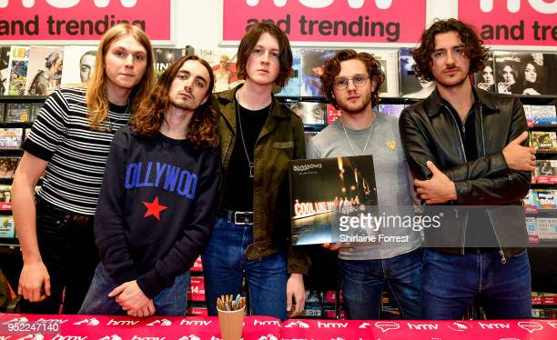 Myles Kellock Josh Dewhurst Tom Ogden Joe Donovan and Charlie Salt of Blossoms during an instore signing and performance of their new album 'Cool...