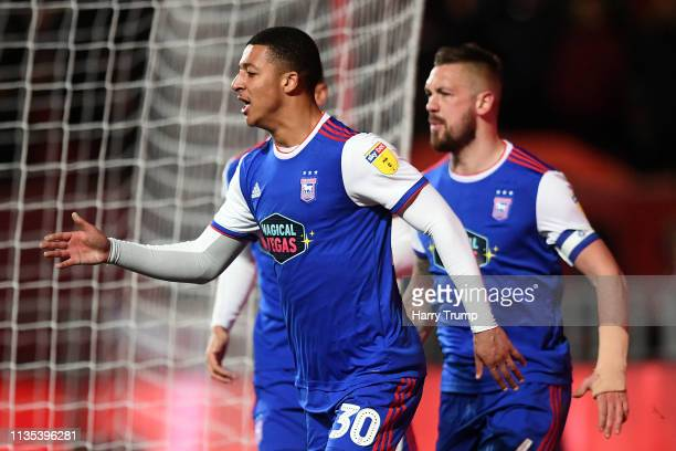 Myles Kenlock of Ipswich Town celebrates with his team after an equalizing goal during the Sky Bet Championship match between Bristol City and...