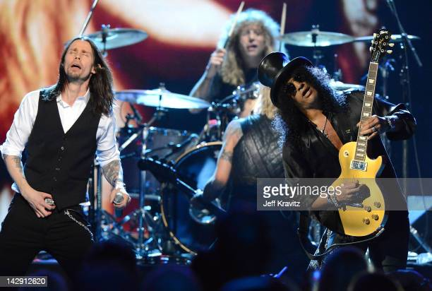 Myles Kennedy and Inductees Steven Adler and Slash of GUns N' Roses perform on stage at the 27th Annual Rock And Roll Hall Of Fame Induction Ceremony...