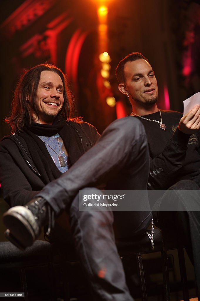 Myles Kennedy (L) and Mark Tremonti of American rock band Alter Bridge. During an interview on October 26, 2010, Colston Hall.