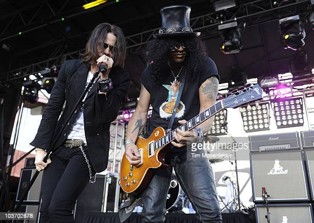 Myles Kennedy and Slash perform as part of the 3rd Annual Sunset Strip Music Festival on the Sunset Strip on August 28 2010 in West Hollywood...