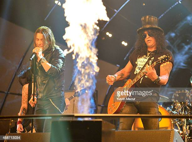 Myles Kennedy and Slash perform at the MTV EMA's 2014 at The Hydro on November 9 2014 in Glasgow Scotland