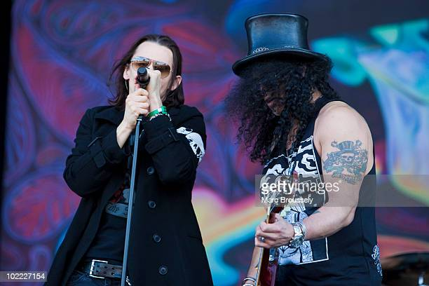 Myles Kennedy and Slash perform on stage at Hellfest Festival on June 19 2010 in Clisson France