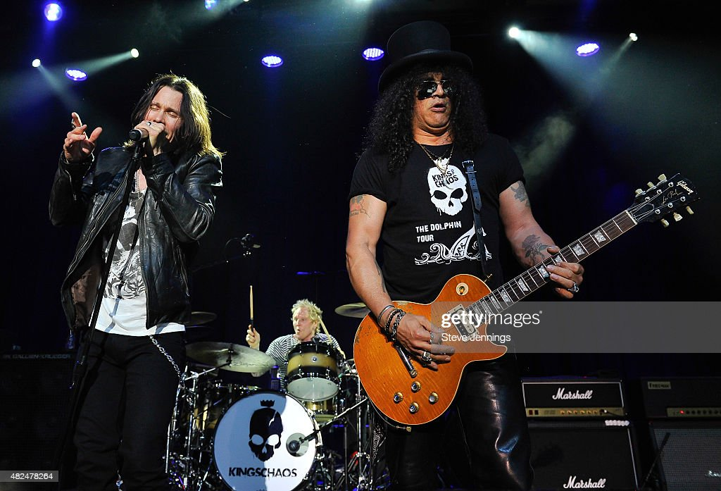 Myles Kennedy of Alter Bridge and Slash of Guns N' Roses perform at the Kings of Chaos concert for Ric O'Berry's Dolphin Project Benefit, a non profit campaign to end dolphin slaughter around the world, featuring rock legends at The Fillmore on July 29, 2015 in San Francisco, California.