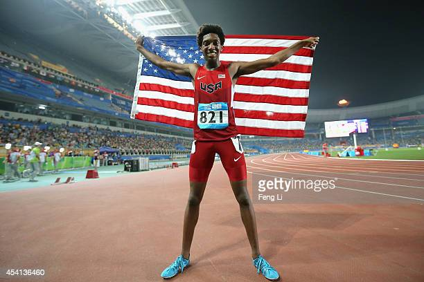 Myles Marshall of the United States celebrates winning the Men's 800m Final of Nanjing 2014 Summer Youth Olympic Games at the Nanjing Olympic Sports...