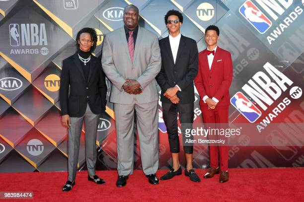 Myles O'Neal Shaquille O'Neal Shareef O'Neal and Shaqir O'Neal attend the 2018 NBA Awards Show at Barker Hangar on June 25 2018 in Santa Monica...