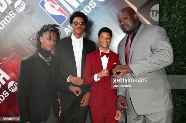 Myles O'Neal Shareef O'Neal Shaqir O'Neal and Shaquille O'Neal attend 2018 NBA Awards at Barkar Hangar on June 25 2018 in Santa Monica California