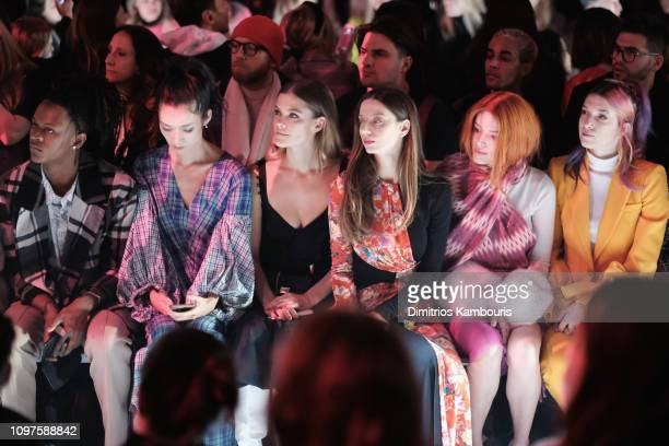 Myles O'Neal Tao Okamoto Nina Agdal Angela Sarafyan Bella Thorne and Dani Thorne attend the Prabal Gurung front row during New York Fashion Week The...