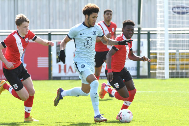 Myles Peart-Harris of Chelsea breaks through the midfield during the Southampton v Chelsea U18 Premier League match on March 27, 2021 in Southampton,...
