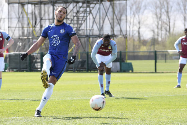 Myles Peart-Harris of Chelsea scores his third from the penalty spot during the Aston Villa v Chelsea U18 Premier League at Bodymoor Heath training...