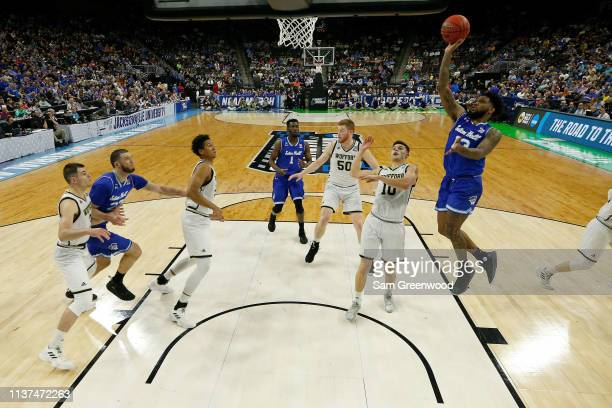 Myles Powell of the Seton Hall Pirates attempts a shot in the first half against the Wofford Terriers during the first round of the 2019 NCAA Men's...