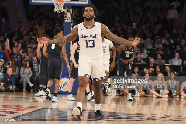Myles Powell of the Seton Hall Pirates celebrates a shot in the first half during the Big East Conference basketball Quarterfinal game against the...