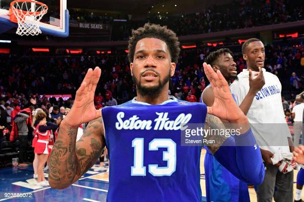 Myles Powell of the Seton Hall Pirates celebrates his teams 8174 win after defeating the St John's Red Storm in an NCAA basketball game at Madison...