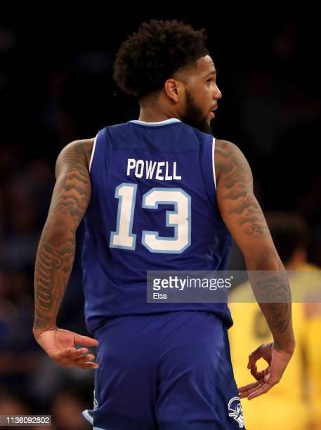 Myles Powell of the Seton Hall Pirates celebrates his three point shot in the second half against the Marquette Golden Eagles during the semifinal...
