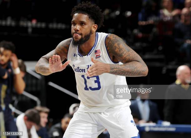 Myles Powell of the Seton Hall Pirates celebrates in the second half against the Marquette Golden Eagles on March 06 2019 at Prudential Center in...