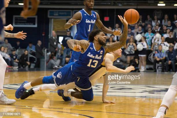 Myles Powell of the Seton Hall Pirates dives for a ball in the game against the Butler Bulldogs during the second half at Hinkle Fieldhouse on...