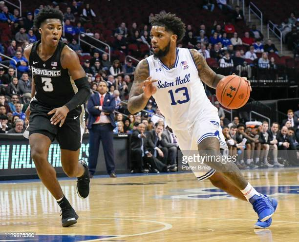 Myles Powell of the Seton Hall Pirates dribbles the ball against the Providence Friars at Prudential Center on January 30 2019 in Newark New Jersey