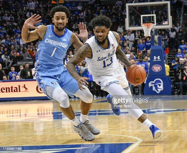Myles Powell of the Seton Hall Pirates dribbles the ball against the Creighton Bluejays at Prudential Center on February 9 2019 in Newark New Jersey