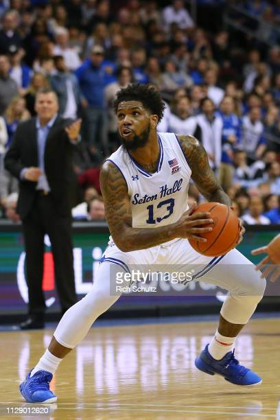 Myles Powell of the Seton Hall Pirates in action against the Creighton Bluejays during a game at Prudential Center on February 9 2019 in Newark New...