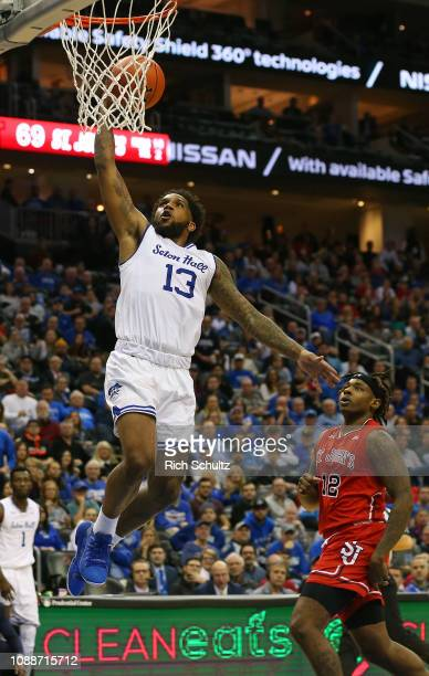 Myles Powell of the Seton Hall Pirates in action against the St John's Red Storm during a game at Prudential Center on December 29 2018 in Newark New...
