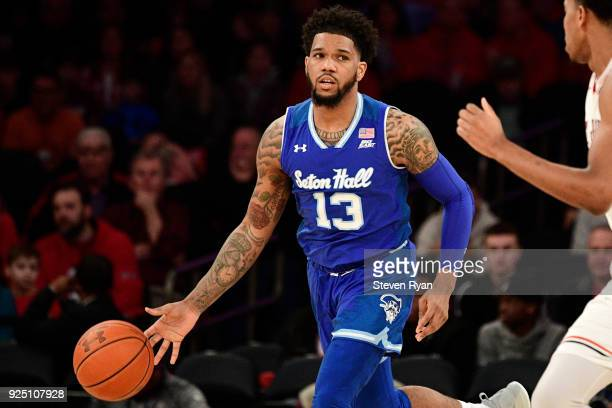 Myles Powell of the Seton Hall Pirates in action against the St John's Red Storm during an NCAA basketball game at Madison Square Garden on February...