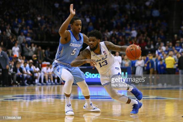 Myles Powell of the Seton Hall Pirates in action against TyShon Alexander of the Creighton Bluejays during a game at Prudential Center on February 9...
