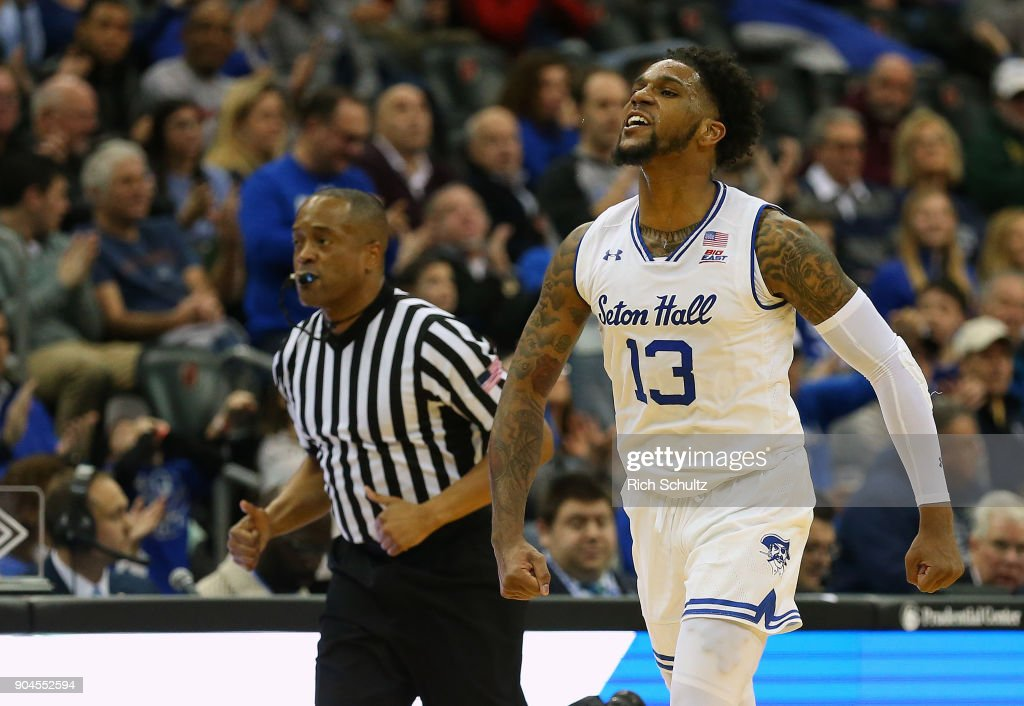 Myles Powell #13 of the Seton Hall Pirates reacts after making a shot against the Georgetown Hoyas during the first half of a game at Prudential Center on January 13, 2018 in Newark, New Jersey. Seton Hall defeated Georgetown 74-61.