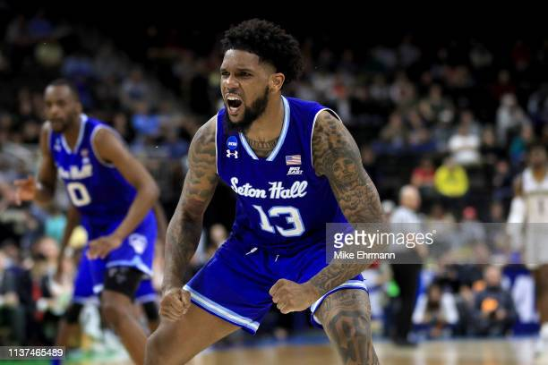 Myles Powell of the Seton Hall Pirates reacts in the second half against the Wofford Terriers during the first round of the 2019 NCAA Men's...