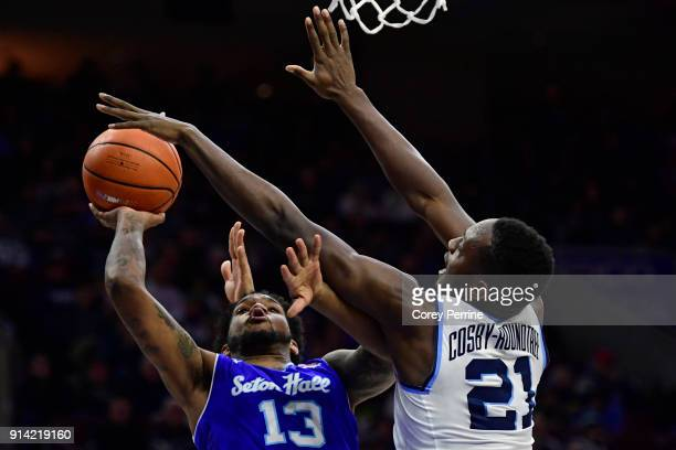 Myles Powell of the Seton Hall Pirates shoots the ball against Dhamir CosbyRoundtree of the Villanova Wildcats during the first half at the Wells...