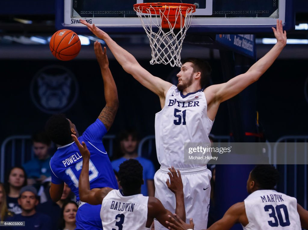 Myles Powell #13 of the Seton Hall Pirates shoots the ball as Nate Fowler #51 of the Butler Bulldogs makes the block at Hinkle Fieldhouse on March 4, 2017 in Indianapolis, Indiana.