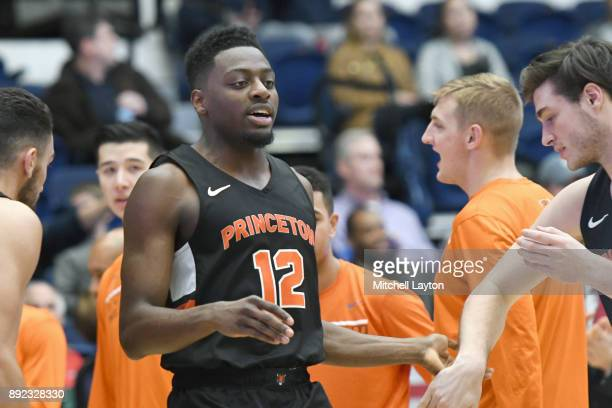 Myles Stephens of the Princeton Tigers is introduced before a college basketball game against the George Washington Colonials at the Smith Center on...