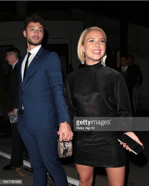 Myles Stephenson and Gabby Allen seen attending Legends of Football 2018 at Grosvenor House on October 8 2018 in London England