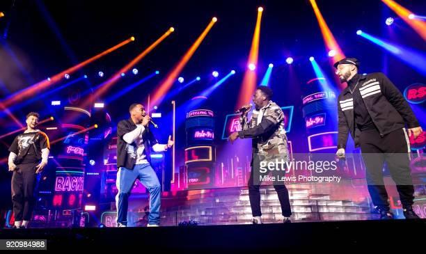 Myles Stephenson Jamaal Shurland Ashley Fongho and Mustafa Rahimtulla of RakSu perform on the X Factor Live tour on February 19 2018 in Cardiff...