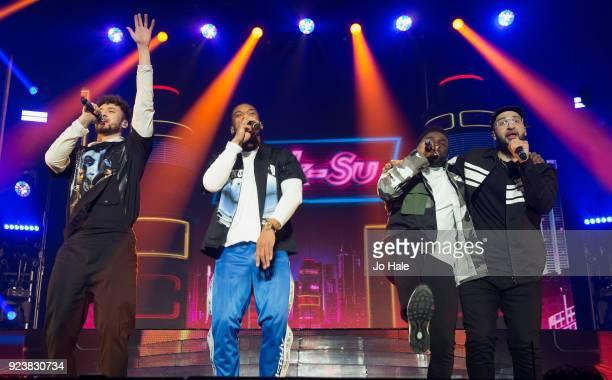Myles Stephenson Jamaal Shurland Ashley Fongo and Mustafa Rahimtulla of RakSu perform on stage at X Factor Live Tour at SSE Arena on February 24 2018...