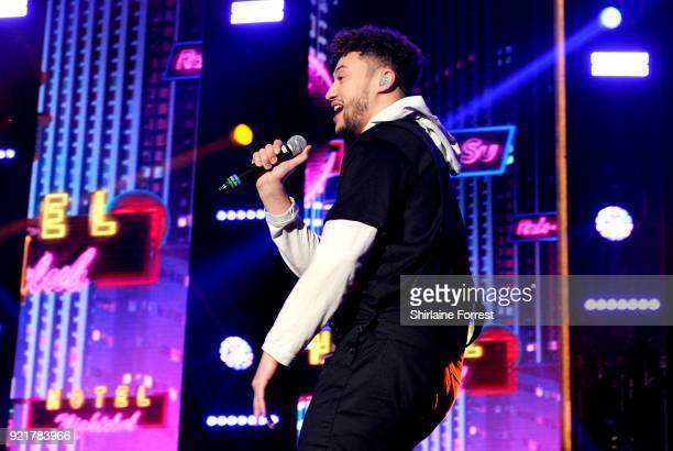 Myles Stephenson of RakSu performs during The X Factor Live at Manchester Arena on February 20 2018 in Manchester United Kingdom